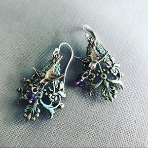 Verdigris Filigree And Silver sparrow Earrings